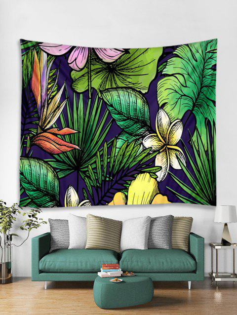Flowers and Leaves Print Tapestry Wall Hanging Art Decoration - multicolor W71 X L79 INCH
