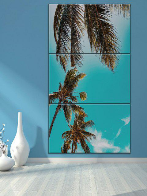 Fine Day Coconut Tree Print Unframed Split Canvas Paintings - GREEN 3PCS X 24 X 35 INCH( NO FRAME )