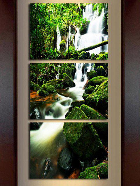 Forest Waterfall Pattern Unframed Split Canvas Paintings - multicolor 3PCS X 24 X 35 INCH( NO FRAME )