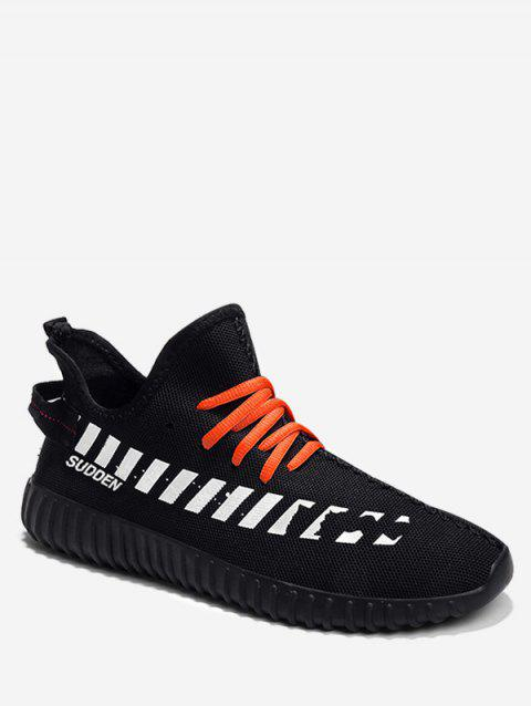 Contrast Design Striped Knit Sneakers - BLACK EU 43