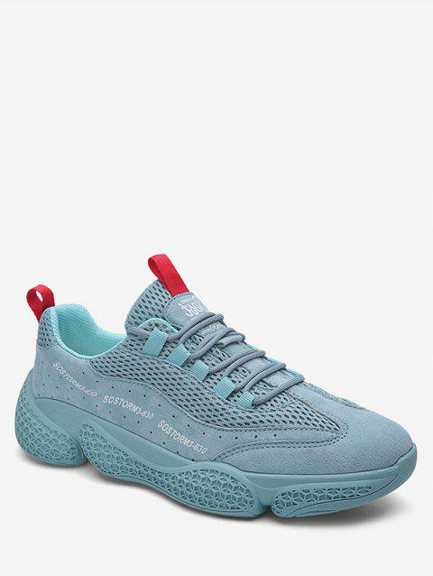 Solid Color Breathable Athletic Sneakers - DAY SKY BLUE EU 42
