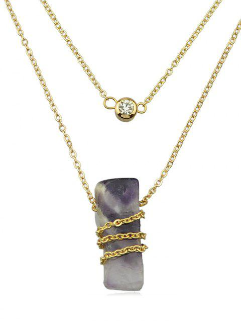 Stone Decoration Chain Necklace - PLUM PURPLE