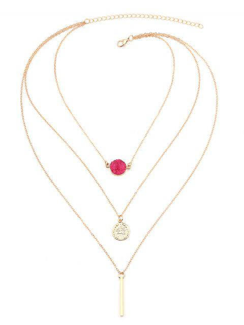 Bar Natural Stone Multilayered Necklace - ROSE RED