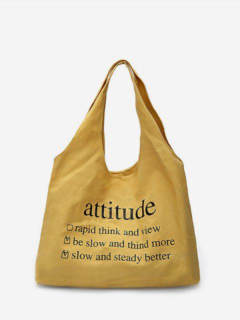 Solid Color Letter Large Capacity Shoulder Bag - SUN YELLOW