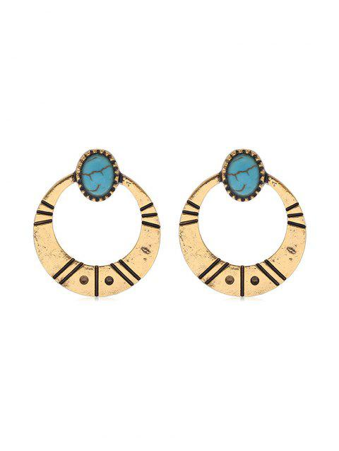 Simple Turquoise Circle Earrings - GOLD