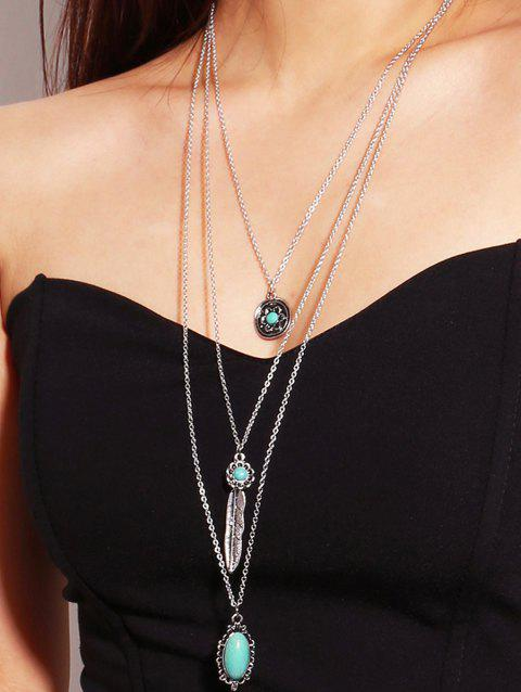 Turquoise Feather Pendant Multilayered Necklace - SILVER