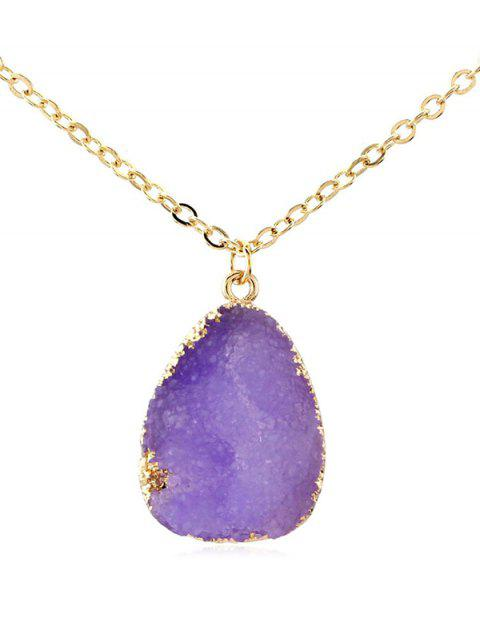 Natural Stone Water Drop Necklace - PURPLE