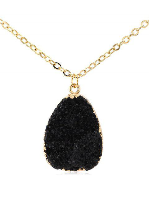 Natural Stone Water Drop Necklace - BLACK