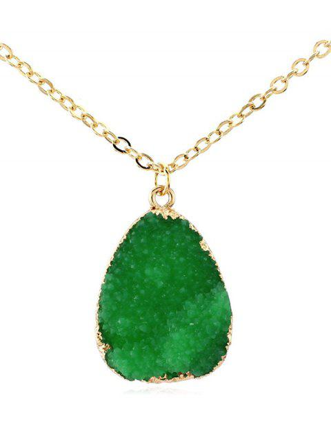 Natural Stone Water Drop Necklace - DEEP GREEN