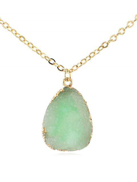 Natural Stone Water Drop Necklace - GREEN