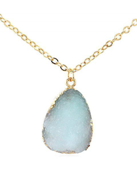 Natural Stone Water Drop Necklace - LIGHT BLUE