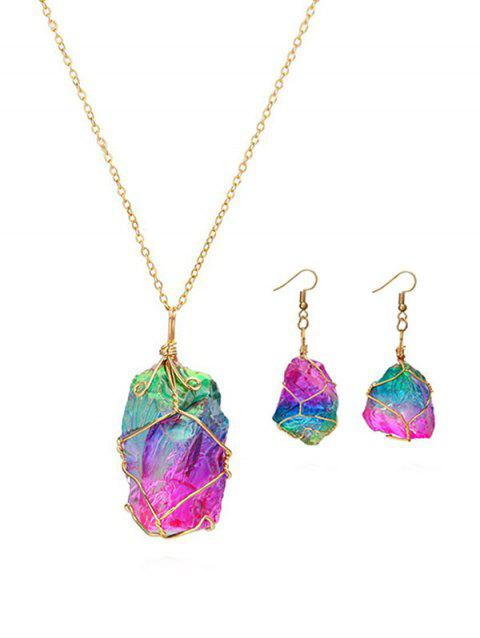 Natural Stone Earrings Necklace Set - multicolor