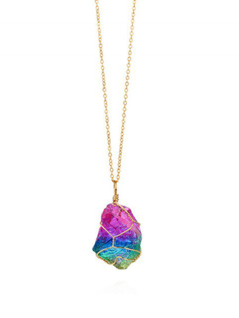 Colored Stone Crystal Necklace - multicolor