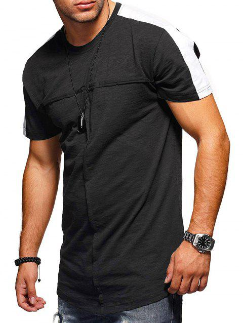 Contrast Shoulder Crew Neck T Shirt - BLACK 3XL