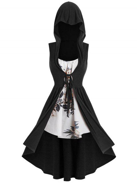 Plus Size Long Hooded Front Tie Vest with Floral Cami Top - BLACK 5X