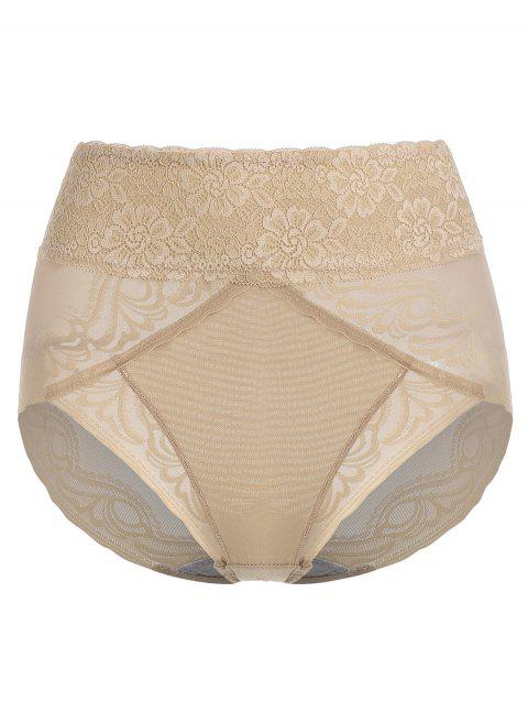 Scalloped Lace High Rise Panties - CINNAMON 2XL