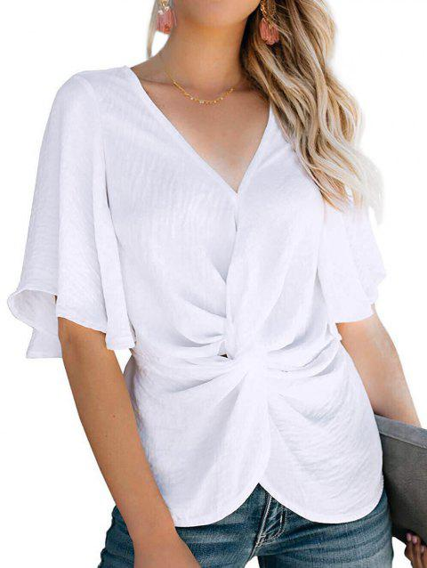 V Neck Twisted Butterfly Sleeve Blouse - WHITE 2XL
