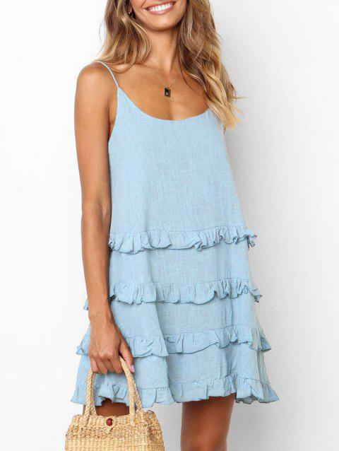Cami Ruffle Keyhole Back Dress - BLUE KOI XL