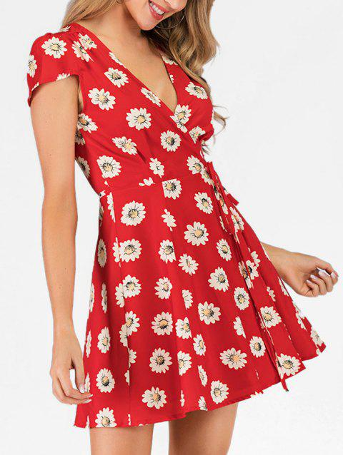 Sunflower Plunging Mini Wrap Dress - RED XL