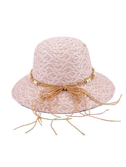 Beaded Bow Straw Hat - PINK