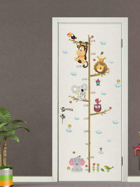 Monkey Elephant Bird Lion Pattern Height Wall Stickers - WHITE