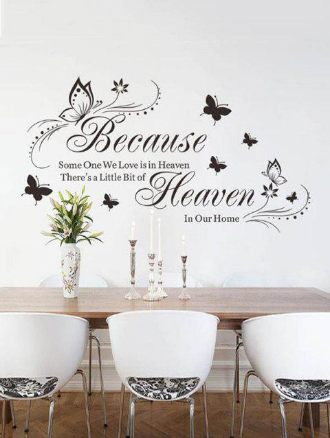 Because Butterfly Pattern Wall Stickers - BLACK