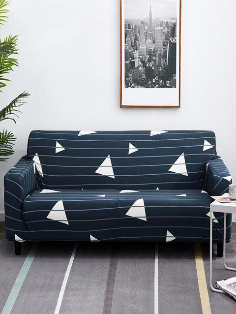 Geometric Pattern Print Couch Cover - MIDNIGHT BLUE TWO SEATS