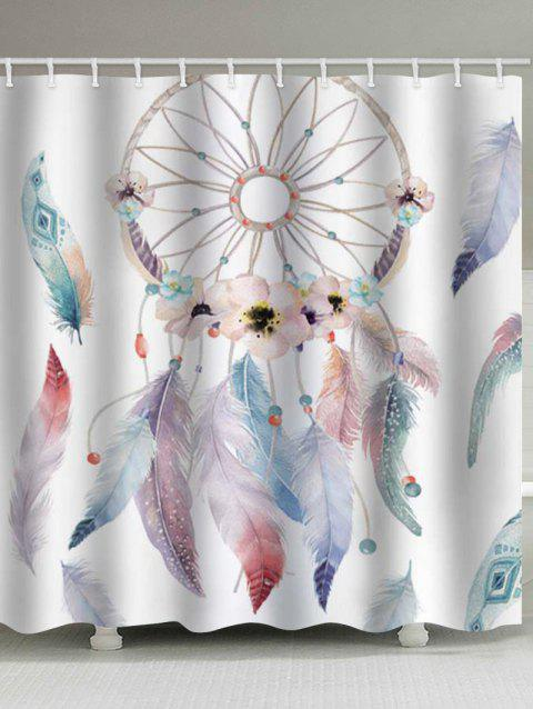 Flower Dream Catcher Print Waterproof Bathroom Shower Curtain - multicolor W71 X L79 INCH