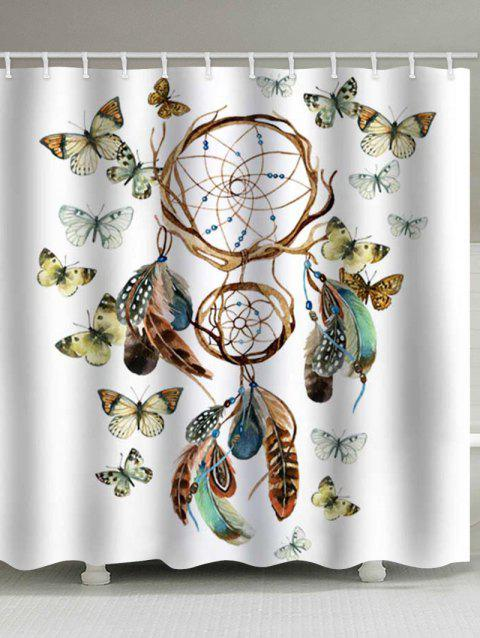Dream Catcher and Butterfly Print Waterproof Bathroom Shower Curtain - multicolor W71 X L79 INCH