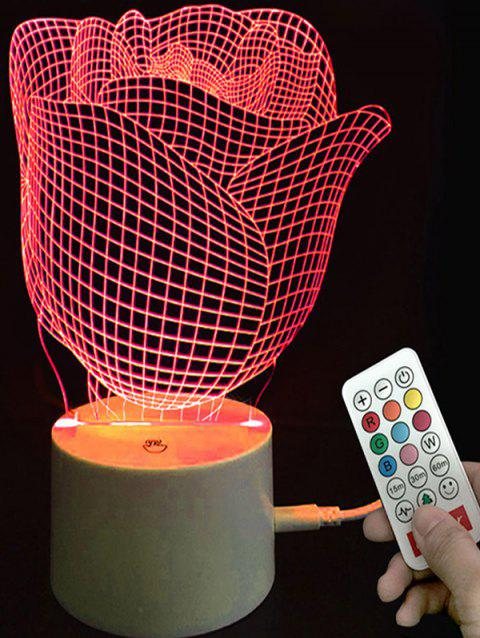 Valentine Rose Shape Color Changing LED Night Light - TRANSPARENT