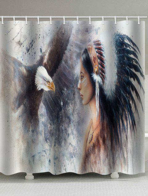 Eagle And Tribal Woman Print Waterproof Bathroom Shower Curtain - multicolor W71 X L79 INCH