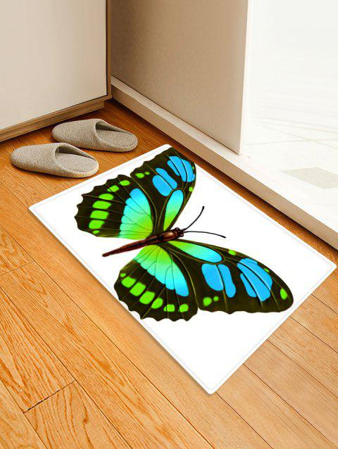 Butterfly Design Pattern Floor Mat - GREEN W16 X L24 INCH