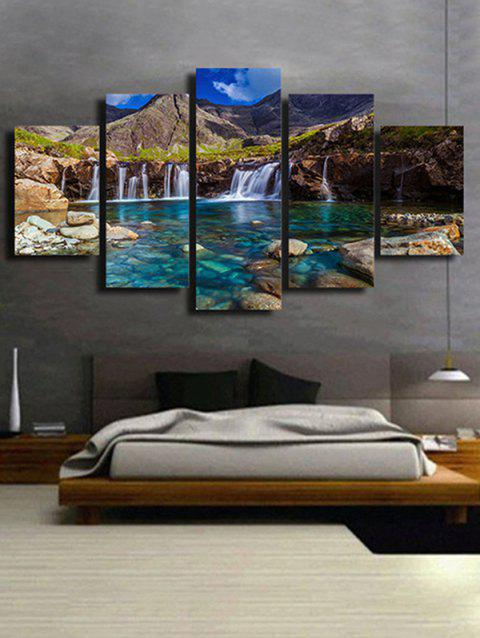 3D Print Waterfall Mountain Wall Art - OAK BROWN 1PC X 8 X 20,2PCS X 8 X 12,2PCS X 8 X 16 INCH( NO
