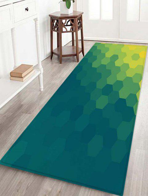 Hexagon Geometric Design Floor Mat - GREENISH BLUE W16 X L47 INCH