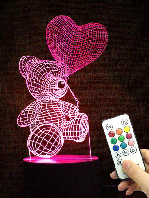 Bear Heart Shape Color Changing LED Night Light - TRANSPARENT