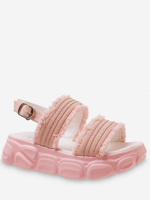 Frayed Hem Flat Platform Sandals - LIGHT PINK EU 37