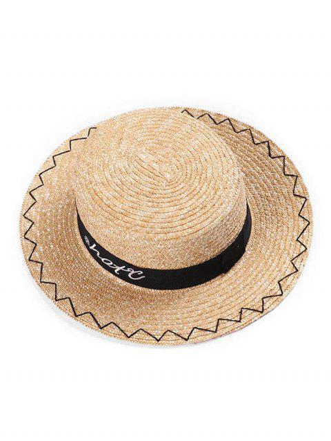 Simple Embroidered Straw Boater Hat - multicolor A
