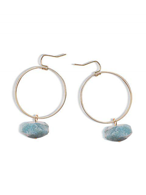 Circle Natural Stone Drop Earrings - BABY BLUE