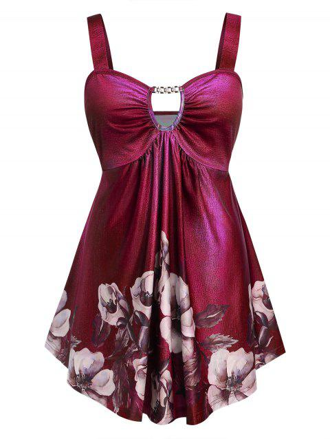 Plus Size Floral Print Cut Out Empire Waist Tank Top - RED WINE 5X