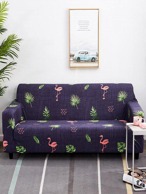 Flamingo and Palm Leaves Print Stretch Couch Cover - PLUM PURPLE TWO SEATS
