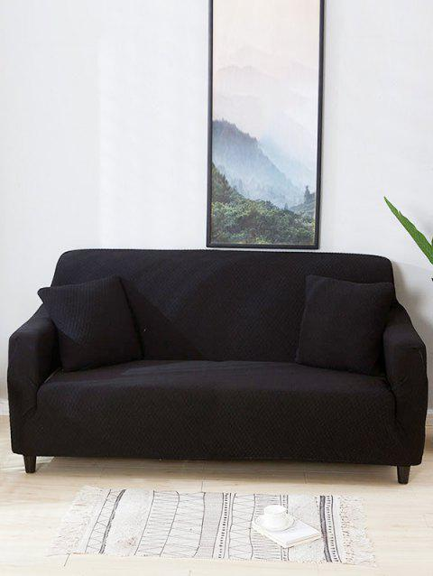 Solid Color Waterproof Couch Cover - BLACK TWO SEATS