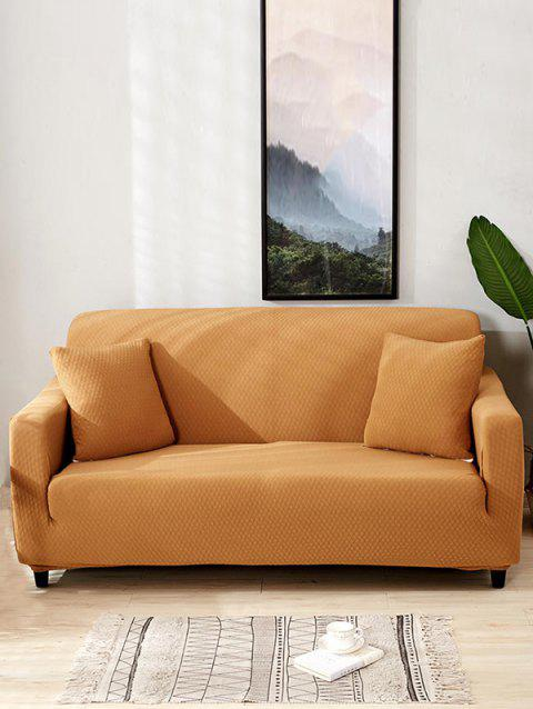 Solid Color Dark Pattern Couch Cover - TIGER ORANGE TWO SEATS