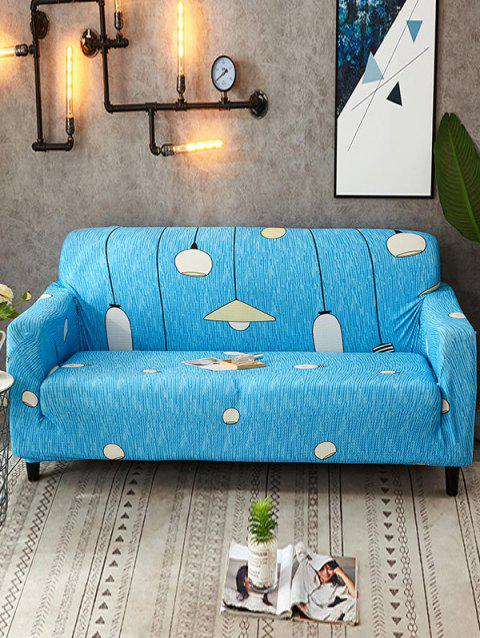 Light Print Stretch Couch Cover - BLUE HOSTA TWO SEATS