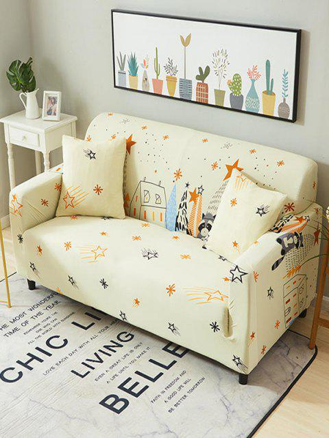Cartoon House Print Stretch Couch Cover - CORNSILK TWO SEATS