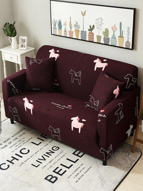 Cartoon Unicorn Print Stretch Couch Cover - FIREBRICK TWO SEATS