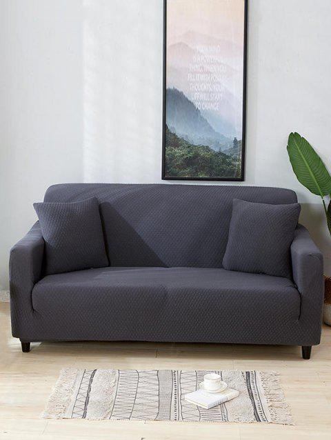 Solid Color Dark Pattern Couch Cover - CLOUDY GRAY TWO SEATS