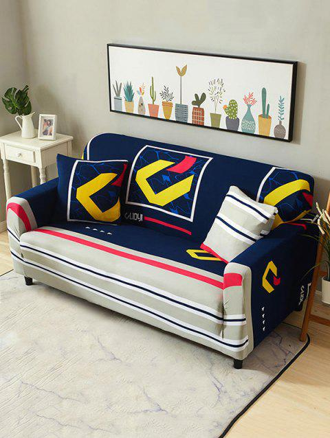 Abstract Print Stretch Couch Cover - BLUEBERRY BLUE TWO SEATS