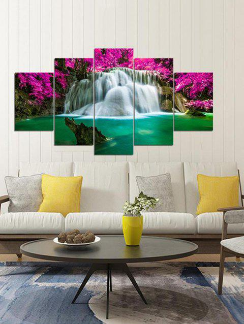 5Pcs Waterfall Flower Wall Art - LIGHT SEA GREEN 1PC X 8 X 22,2PCS X 8 X 14,2PCS X 8 X 18INCH( NO F