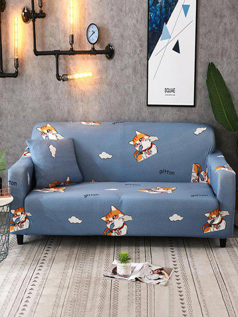 Animal Print Couch Cover - SILK BLUE TWO SEATS
