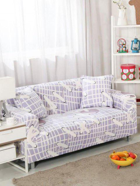 Plaid and Lace-up Print Stretch Couch Cover - BLUE GRAY TWO SEATS